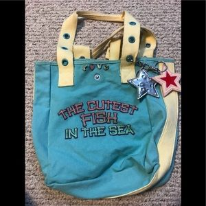 "Canvas beach tote ""cutest fish in the sea"""